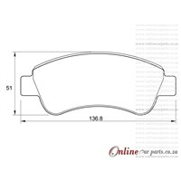 Citroen C5 II 2.0 HDi 100KW DW10BTED4 4 Cyl 1997 Eng 2008-2010 Front Brake Pads