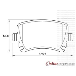 Volkswagen Scirocco 1.4 TSi 1K8 118KW CAVD 4 Cyl 1390 Eng 2009-2015 Rear Brake Pads