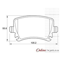 Volkswagen Caddy 1.6 2C 75KW BSF 4 Cyl 1598 Eng 2011-2015 Rear Brake Pads