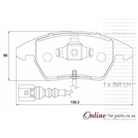 Volkswagen Scirocco 2.0 TSi 1K8 155KW CCZB 4 Cyl 1984 Eng 2011-2015 Front Brake Pads