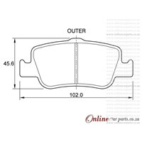 Toyota Corolla 2.0 D-4D 93KW 1AD-FTV 4 Cyl 1998 Eng 2007-2013 Rear Brake Pads