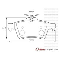 Volvo V50 2.5 T5 169KW D5244T7 5 Cyl 2521 Eng 2007-2012 Rear Brake Pads