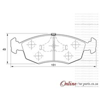 Volkswagen Microbus 2.3i 5 Cyl 2309 Eng 1995-1997 Front Brake Pads