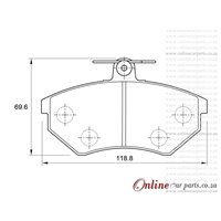 Volkswagen Golf III 1.6 GS 4 Cyl 1595 F.inj Eng 1996-1999 Front Brake Pads
