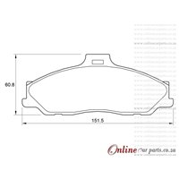 Ford Courier 2500 DIESEL WL 4 Cyl 2499 Eng 1996-2000 Front Brake Pads