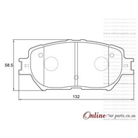 Toyota Camry 3.0 1MZFE 6 CyL 2995 Eng 2003-2006 Front Brake Pads