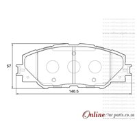 Toyota Auris X 1.8 HYBRID 73KW 2ZR-FXE 4 Cyl 1798 Eng 2011-2018 Front Brake Pads