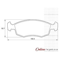 Fiat Palio 1.6 ELX 4 Cyl 1580 Eng 2002-2005 Front Brake Pads