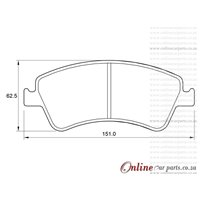 Toyota Corolla 2.0 D-4D 93KW 1AD-FTV 4 Cyl 1998 Eng 2007-2013 Front Brake Pads